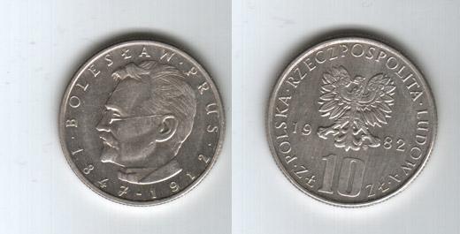 10 злотых 1982 года ten pence 1992